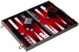 Philos 1730 - Backgammon Filzinlet rot-weiß-schwarz, medium, Koffer Kunstleder -